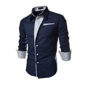 Stylish Turndown Collar Long Sleeves Patchwork Navy Blue Cotton Shirts