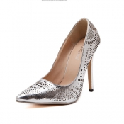 Trendy Pointed Closed Toe Shallow Design Stiletto Super High Heel Silver PU Pumps