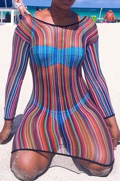 Sexy шею длинными рукавами прозрачный полиэстер Сорочка (не включая Трусы)
