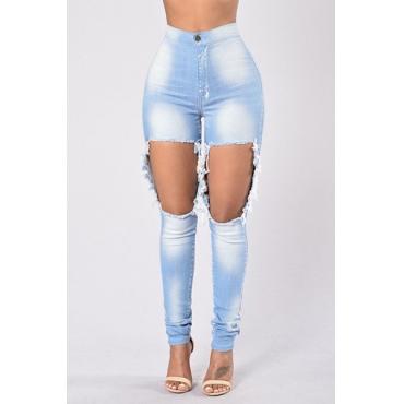 Stylish High Waist Big Holes Design Light Blue Cotton Jeans