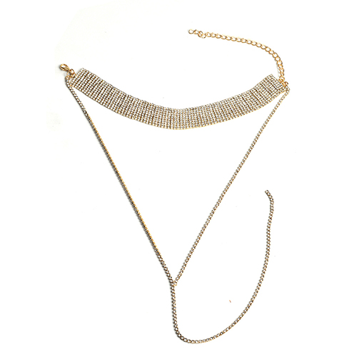 Vintage Style Rhinestone Decorative Gold Crystal Necklace