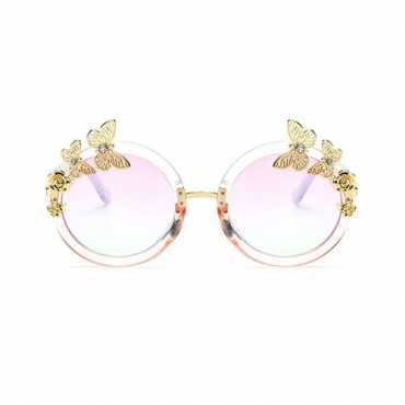 Stylish Round Frame Butterfly Decorative White PC Sunglasses