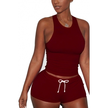 Red Cotton Blend Shorts Solid U Neck Sleeveless Casual Two Pieces