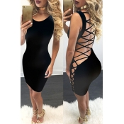 Sexy O Neck Sleeveless Back Strappy Hollow-out Black Qmilch Sheath Mini Dress