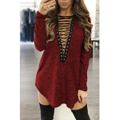 Sexy Deep V Neck Long Sleeves Hollow-out Wine Red Polyester Mini Dress