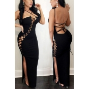 Sexy Spaghetti Straps Sleeveless Backless Black Polyester Sheath Ankle Length Dress