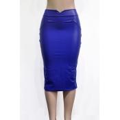Leather Solid Sheath Knee Length Skirts