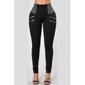 Casual High Waist Patchwork Black Cotton Skinny Pa