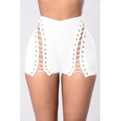 Sexy High Waist Hollow-out White Polyester Skinny