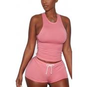 Розовый бленды хлопка шорты Твердые U образным вырезом без рукавов повседневные Две пьесы