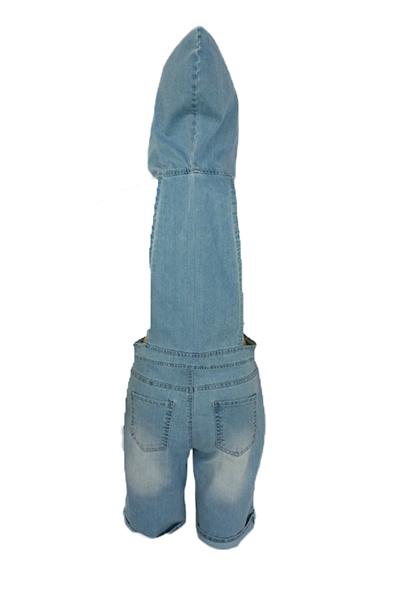 Sexy manga curta mangas curtas de algodão azul oca-out macacão solto de uma peça