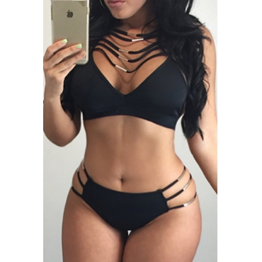 Sexy Halter Neck Hollow-out Black Polyester Two-piece Swimwear