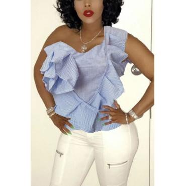 Cardigan Polyester Bateau Neck Short Sleeve Plaid Blouses&Shirts