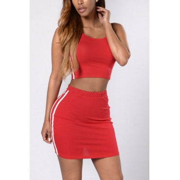 Red Cotton Shorts Color Block O neck Sleeveless Sexy Two Pieces