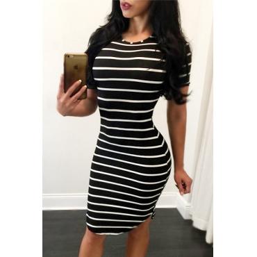 Polyester Sexy O neck Short Sleeve Sheath Knee Length Dresses