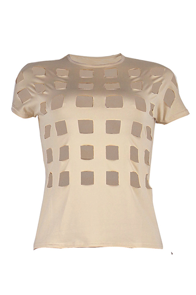 Sexy Round Neck Short Sleeves Hollow-out Apricot Qmilch T-shirt