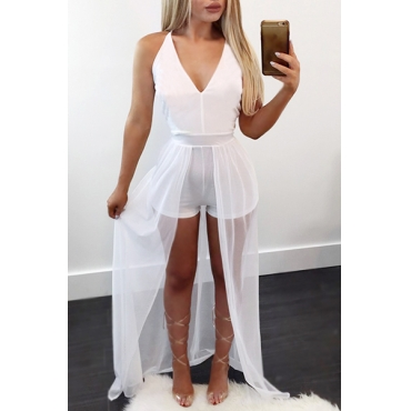 Stylish V Neck Sleeveless Patchwork White Chiffon One-piece Skinny Jumpsuits