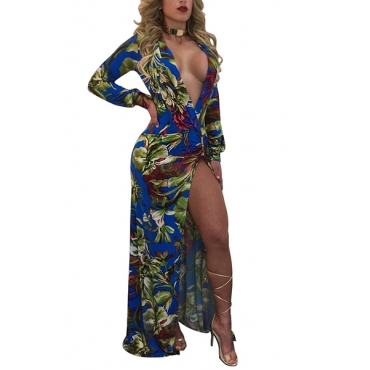 Sexy Deep V Neck Long Sleeves Printed High Split Green Healthy Fabric Floor Length Dress