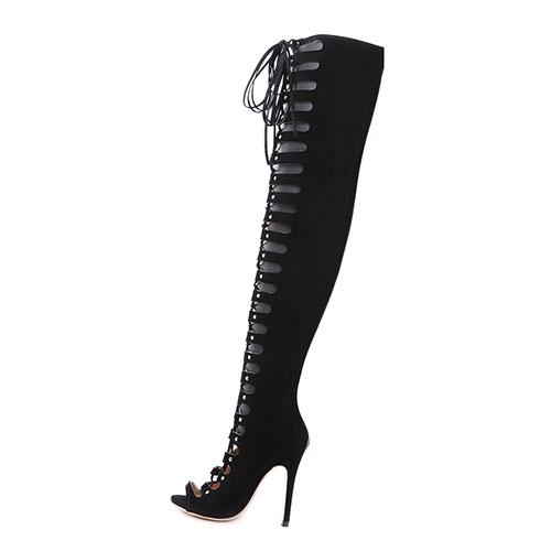 Elegante Round Peep Toe Lace-up Hollow-out Stiletto Super High Heel Negro Suede sobre las botas de rodilla