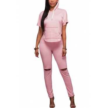 Pink Polyester Pants Print Short Sleeve Casual Two Pieces