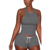 Grey Cotton Blend Shorts Solid U Neck Sleeveless Casual Two Pieces