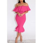 Sexy Bateau Neck Short Sleeves Falbala Design Rose Red Sheath Knee Length Dress