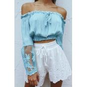 Pullovers Chiffon Bateau Neck Long Sleeve Solid Blouses&Shirts