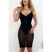 Sexy V Neck Sleeveless See-Through Black Polyester Sheath Knee Length Dress(With Lining)