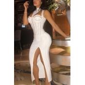 Twilled Satin Sexy Mandarin Collar Sleeveless Ankle Length Dresses