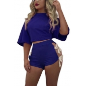 Blue Cotton Shorts Solid O neck Short Sleeve Sexy Two Pieces