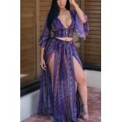 Sexy V Шея Half Sleeves Печатные High SPlit Фиолетовый