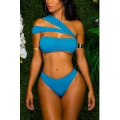 Sexy Hollow-out Blue Polyester One-piece Swimwear
