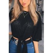 Casual Round Neck Half Sleeves High Split Black Polyester Shirts