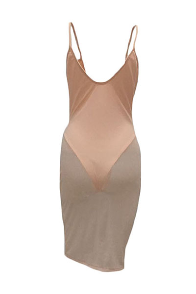 Sexy V Neck Sleeveless See-Through Pink Polyester Sheath Knee Length Dress(With Lining)