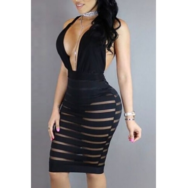 Sexy V Neck Sleeveless See-Through Backless Black Polyester Sheath Knee Length Dress