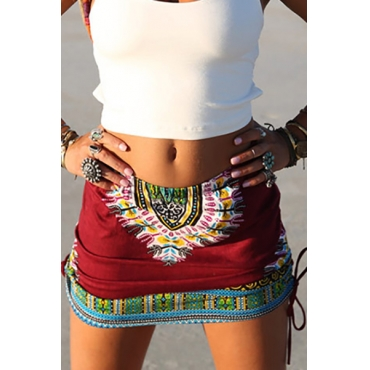 Ethnic Style Elastic Waist Printed Red Cotton Blend Mini Skirts