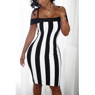 Sexy Bateau Neck Sleeveless Black-white Patchwork Healthy Fabric Sheath Knee Length Dress