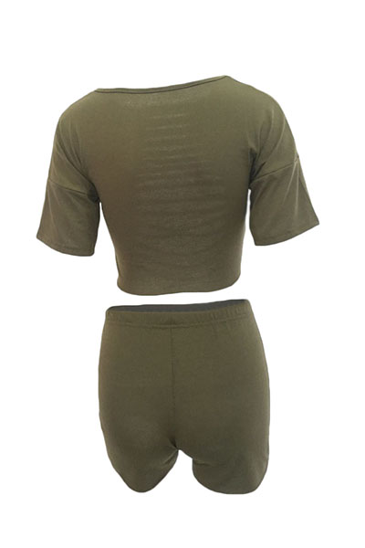 Green Cotton Blend Shorts Solid O neck Short Sleeve Sexy Two Pieces