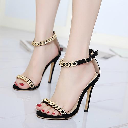 Suede Stiletto Super Sandalias de Moda Alta