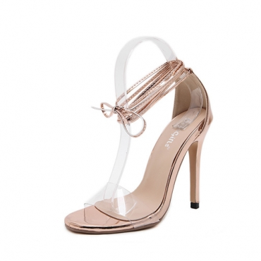 Elegante Ponto Peep Toe Lace-up Stiletto Super salto alto Champagne PU tornozelo Sandálias