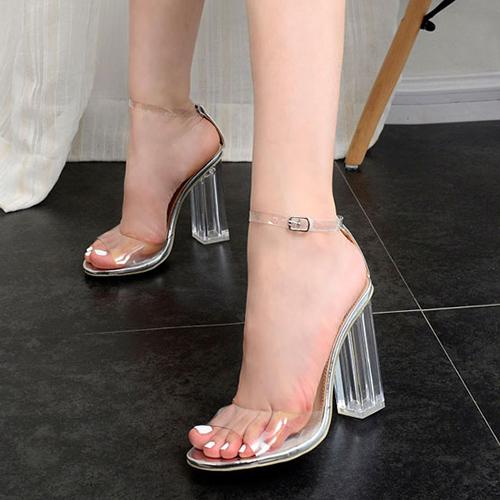 Elegante punto Peep Toe See-Through Chunky Super Tacón Plata Sandalias de plástico