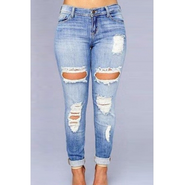 Euramerican vita alta Fori rotte blu scuro jeans del denim