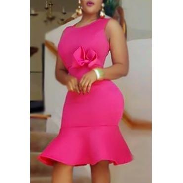 Charismatic Round Neck Sleeveless Falbala Design Rose Red Polyester Sheath Knee Length Dress