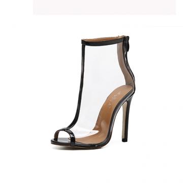 Elegante Pointed Peep Toe See-Through Stiletto Super salto alto Black PU sandálias