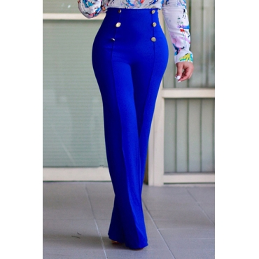Stylish High Taille Double-breasted Design Blaue Polyester-Hose