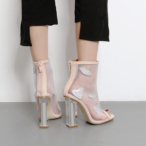 Moda Pointed Peep Toe See-Through Chunky Super High Heel Apricot net fio sandálias