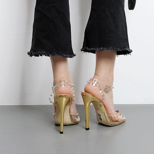 Plastic Stiletto Super Alta moda tobillo correa Sandalias