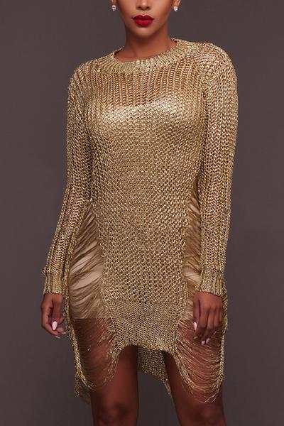 Sexy cuello redondo mangas largas ahuecar-hacia fuera de poliéster de oro mini vestido de polo Sexy O cuello manga larga recta mini vestidos