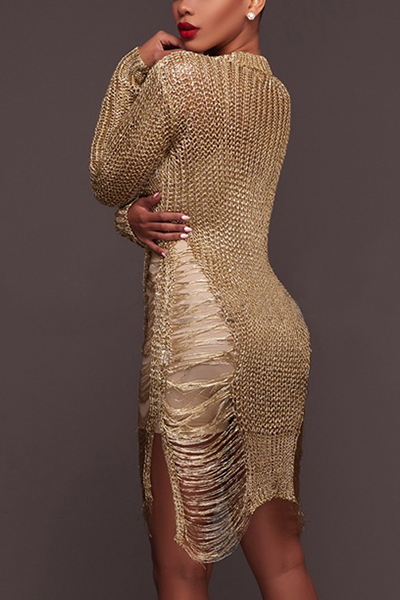Sexy Round Neck Long Sleeves Hollow-out Gold Polyester Mini DressPolyester Sexy O neck Long Sleeve Straight Mini Dresses