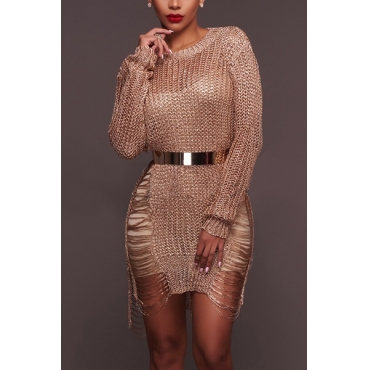 Sexy Round Neck Long Sleeves Hollow-out Rose Gold Polyester Mini Dress(Without Belt)